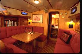 photo of boat interior with teak surfaces