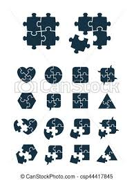 Jigsaw Puzzle Icons Collection Complete And Incomplete Vector