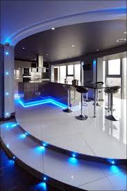 ultra modern kitchen. Kitchen, Ultra Modern Kitchen Concepts With Beautiful Led Lighting In Blue Color Choice Decorating Flower