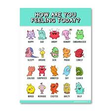 Emotion Chart For Kids Feelings Chart For Kids Emotions Poster 18x24 Laminated Emotions Chart Is Ideal For Classroom Posters Or Classroom Decorations 1 Poster Included