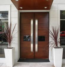 Double Modern Wood Front Doors Double and Single with a Side http