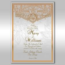 Simple Ornamental Pattern Wedding Invitation Design Template For