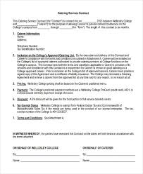 Catering Contract Samples Free 7 Sample Catering Contract Forms In Pdf Doc