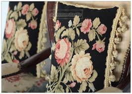 wool aubusson rose pillow shabby french chic home decor chair sofa