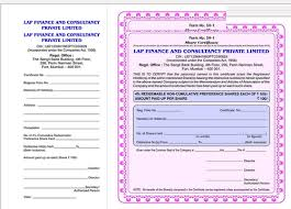 Form Of Share Certificate Share Certificate Service View Specifications Details Of