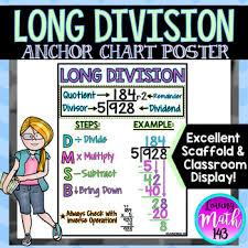 Division Steps Anchor Chart Long Division Anchor Chart Poster