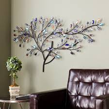 metal willow multicolor glass stone leaves home wall decor tree art sculpture new on large metal tree wall sculpture with metal willow multicolor glass stone leaves home wall decor tree art