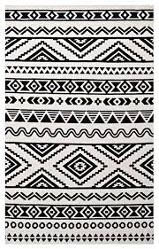 haku geometric moroccan tribal 5 x8 area rug black white southwestern area rugs by modway