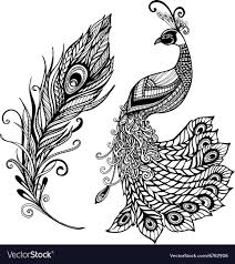 Peacock Design Pictures Peacock Feather Design Black Doodle Print
