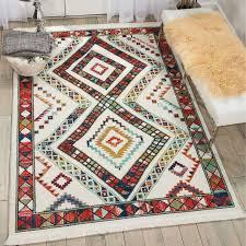 navajo tribal fringe rug white nav02