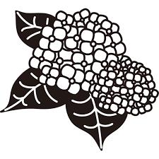 植物 あじさいモノクロ 無料イラストpowerpointテンプレート配布
