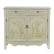 Benjara 36.25 in. H Antique White Wooden <b>Hand Painted Console</b> ...