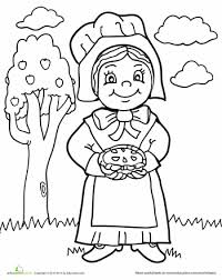thanksgiving pilgrim girl coloring pages. Brilliant Girl Worksheets Pilgrim Girl Coloring Page To Thanksgiving Pages A