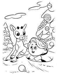 Small Picture Rudolph Reindeer And Hermey Coloring Page Animal Coloring Pages