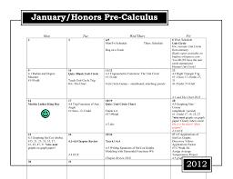 2012 Honors Precalc Spring Calendar