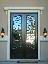 white double front door. Decoration Inspiring Black Double Entry Doors With Wrought Iron Glass Inserts And White Crown Molding Also Oil Rubbed Bronze Lever Handles Alongside Antique Front Door 4