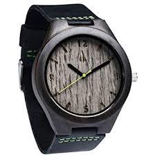 Treehut Mens Ebony Wooden Silver Oak Watch with ... - Amazon.com