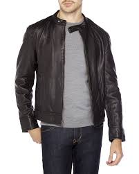 lyst 7 for all mankind glazed leather jacket in black men