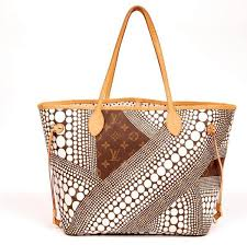 louis vuitton neverfull white. louis vuitton monogram kusama waves neverfull mm white brown/white tote bag 5347 (authentic
