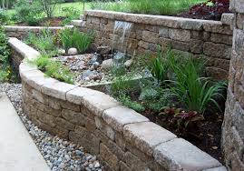 tiered retaining wall with water feature
