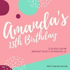 13th Party Invitations Customize 1 503 Birthday Invitations Templates Online Canva