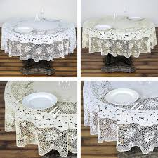 round plastic tablecloth 70 with crocheted lace catering home party dinner