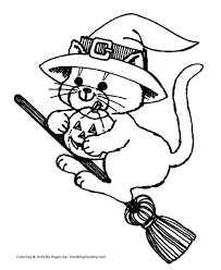 Small Picture Halloween Witch Coloring Pages Cat Witch on a Broom HonkingDonkey