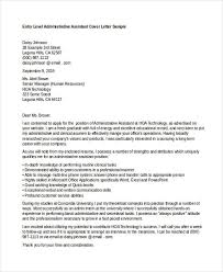 Entry Level Administrative Assistant Cover Letters 10 Job Application Letter For Administrative Assistant