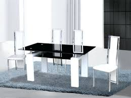 black and white dining set black white high gloss glass dining table 4 chairs black white