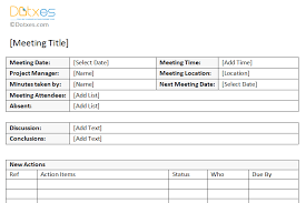 Minute Taking Templates Minutes Of Meeting Sample With Action Item List Dotxes