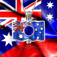 australian flag 925 sterling silver cage pendant