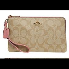 Coach Signature PVC Double Zip Large Wallet Pink
