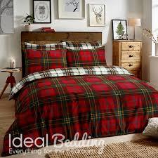 flannel tartan check red duvet set and pillowcase bedding set