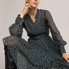 <b>Платье длинное прямое</b> с цветочным принтом рисунок/синий ...