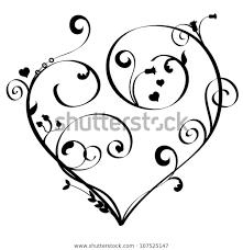 Scroll Heart Scroll Heart Stock Vector Royalty Free 107525147