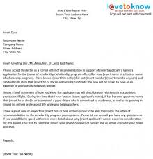 scholarship templates sample scholarship recommendation letter lovetoknow