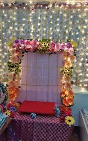 ganesh pooja mandap decoration with flowers arrangatrem pinterest