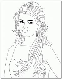 Long Hair Girl Coloring Pages Selena Gomez Easy Coloring Coloring