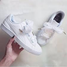 puma basket heart patent white women s fashion shoes sneakers on carou