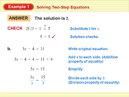 example 1 solving two step equations solution a 12x2x 5 write original 2 example