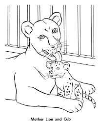 Small Picture Zoo Animal Coloring Pages Female Lion and her Cub Coloring Page