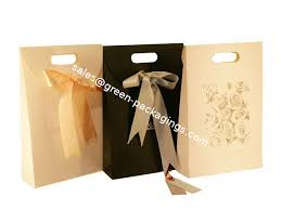deux custom printed paper gift bag cardboard bags with ribbon closure 42cm 28cm 9cm