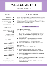 resume for professional makeup artist