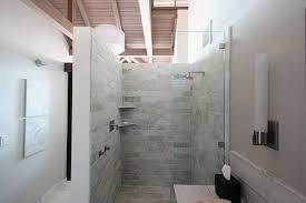 design walk shower designs: white brick tile walk in shower