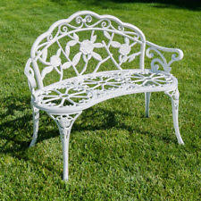 white cast iron patio furniture. Wonderful Cast Rose Style Love Seat Bench White Cast Iron Antique Designed Outdoor Patio  Porch On Furniture O
