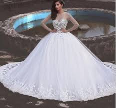 white long wedding dresses 2018 ball gown long sleeves