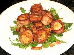 pan seared natural bacon wrapped sea scallops