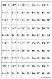 A4 Hundreds Chart 900 1000_page_4 K 3 Teacher Resources