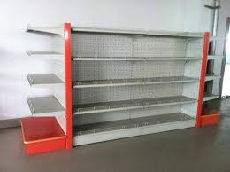 used gondola shelving design with white color red