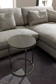 contemporary side table wooden metal leather